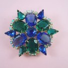 Vintage Blue and Green Cabochon Rhinestone Brooch Aurora Borealis Rhinestones