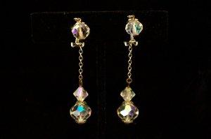 Vintage Lewis Segal Crystal Aurora Borealis Drop Earrings