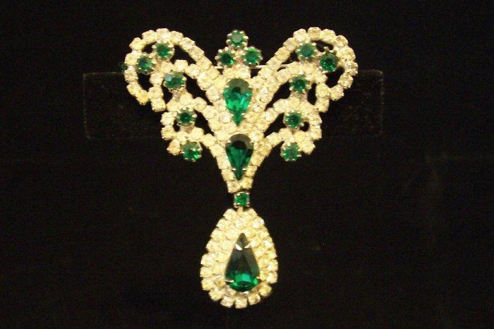 Vintage Emerald Green Rhinestone Dangle Brooch Regal Design