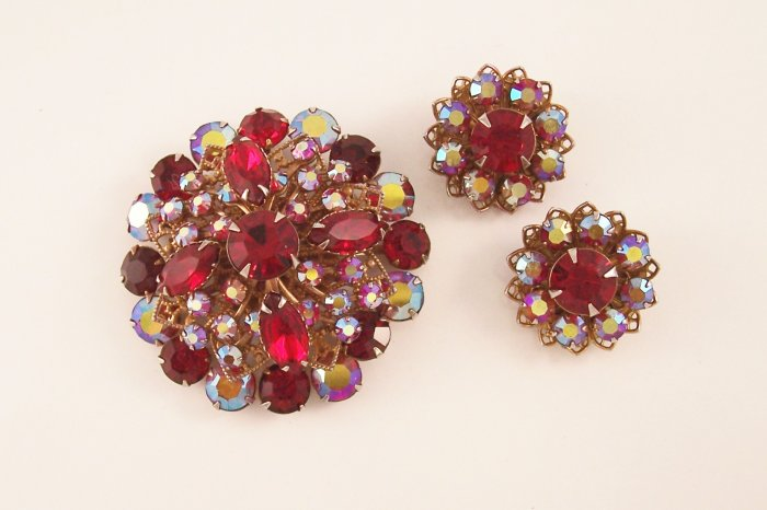 Vintage Ruby Red Rhinestone Borealis Brooch Earrings Demi Set Domed Filigree Backed