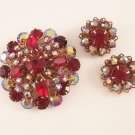 Vintage Ruby Red Rhinestone Borealis Brooch Earrings Demi Set Domed Filigree Backed