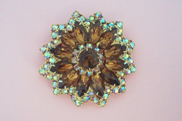 Vintage Topaz Aurora Borealis Rhinestone Brooch Flower Design Perfect for Fall