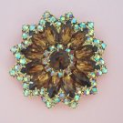 Vintage Topaz Aurora Borealis Rhinestone Brooch Flower Design Perfect for Fall