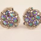 Vintage Lisner Peacock Aurora Borealis AB Earrings Screw Back