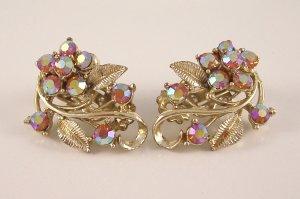 Vintage Topaz AB Aurora Borealis Rhinestone Earrings Floral Design