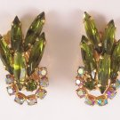 Vintage Olivine Green Rhinestone Earrings Aurora Borealis