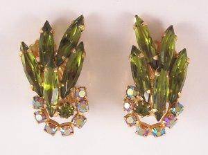 Vintage Olivine Green Rhinestone Earrings Aurora Borealis