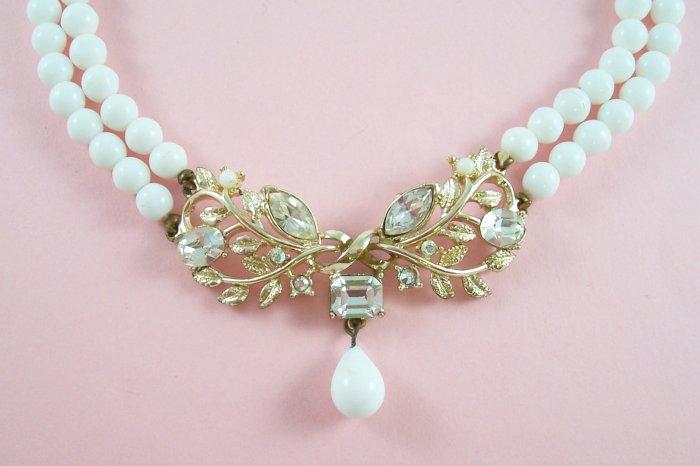 Vintage Coro White Milk Glass Bead Rhinestone Necklace Two Strand Choker