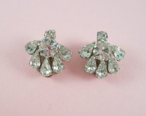 Vintage Austria Rhinestone Crystal Earrings Clip Back Classic Design