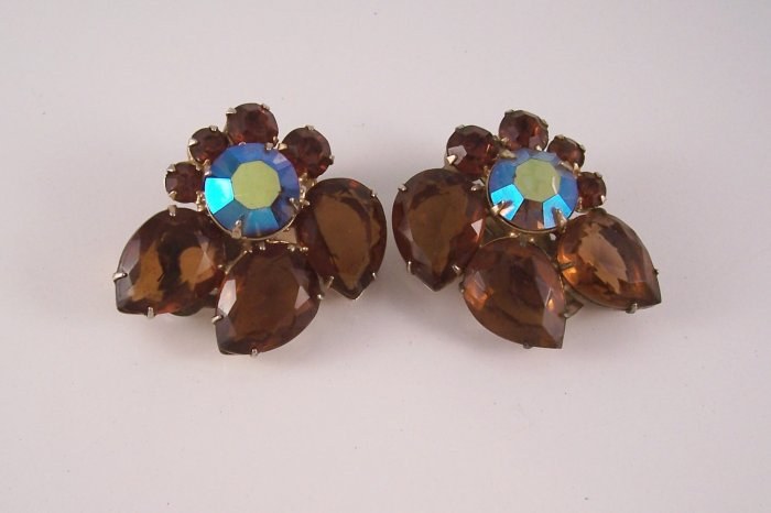 Vintage Dark Topaz AB Rhinestone Earrings Open Back Floral Style