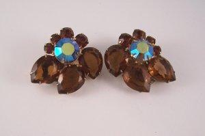 Vintage Dark Topaz AB Rhinestone Earrings Open Back Floral Style