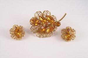 Vintage Topaz Rhinestone Brooch Earrings Filigree Floral Demi Set