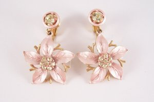 Vintage Yellow Rhinestone Pink Poinsettia Earrings Clip Back Dangles