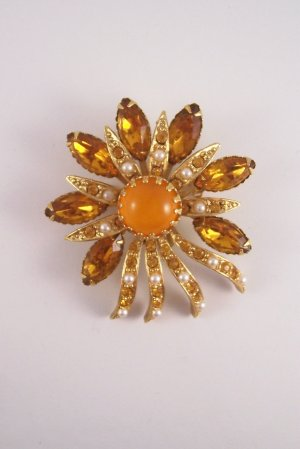 Vintage Selini Topaz Rhinestone Brooch Orange Moon Glow Cabochon