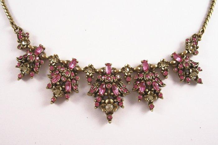 Vintage Hollycraft Pink Rhinestone Necklace 1950 Floral Design