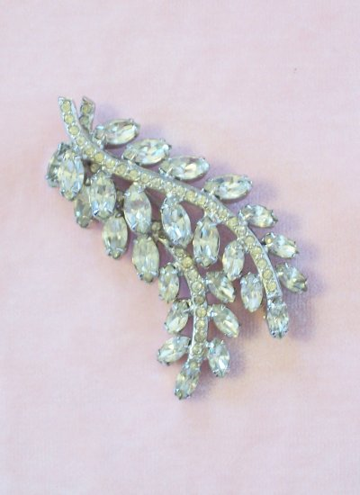 Vintage Rhinestone Brooch Double Leaf Layered Design Pave Set Stems