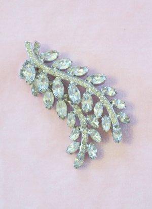 Vintage Rhinestone Brooch Double Leaf Layered Design Pave Set Stems