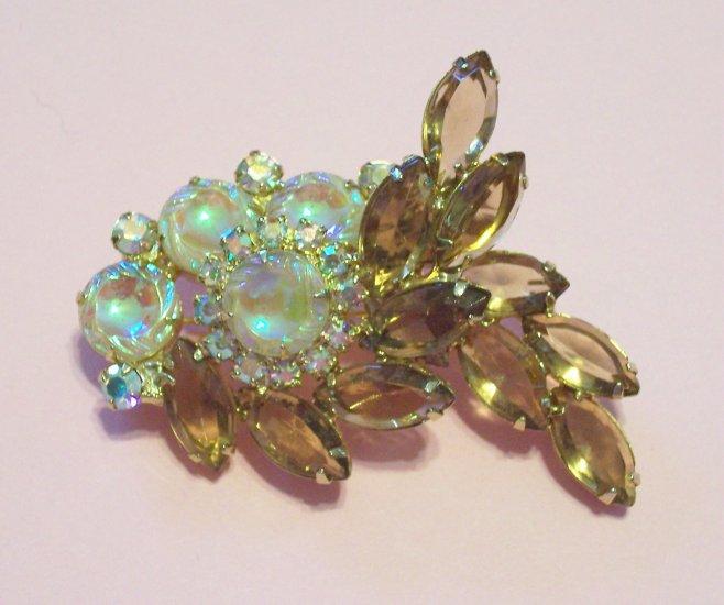 Vintage Topaz Rhinestone and Iridescent Molded Glass Brooch Layered Design