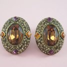 Topaz Cabochon Chocolate Rhinestone Clip Earrings Large Colorful Set
