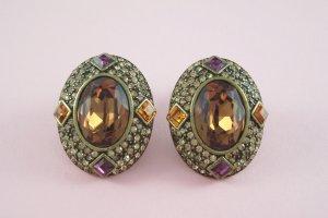 Topaz Cabochon Chocolate Rhinestone Clip Earrings Large Colorful Set