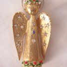 Vintage ART Signed Christmas Angel Brooch Rhinestone Accents