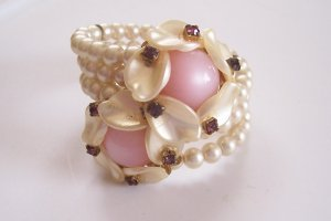 Vintage Faux Pearl and Rhinestone Wrap Bracelet Pink Faux Moonstone