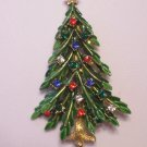 Vintage Art Green Enamel Rhinestone Christmas Tree Brooch Multi Color Stones