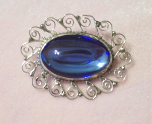 Vintage Mexico Sterling Blue Glass Cabochon Filigree Brooch Pendant