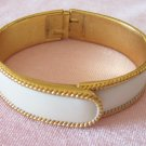 Vintage Trifari White Enamel Clamper Bangle Bracelet Rope Braid Design