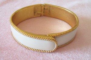 Vintage Trifari White Enamel Clamper Bangle Bracelet Rope Braid Design