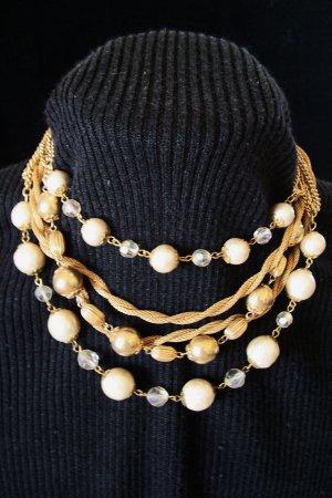 Vintage Mesh Chain Aurora Borealis Crystal Beaded Necklace Multi Strand