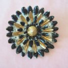 Vintage Black White and Gold Enamel Flower Brooch Raised Petals