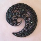 MJent Signed Black Rhinestone Comma Brooch Large Flashy Size