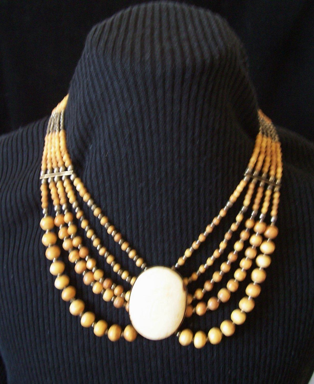 Vintage Tribal Carved Ox Bone Beaded Necklace Five Strand Draped Bib