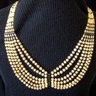 Vintage Carved Ox Bone Beaded Tribal Necklace Six Strand Draped