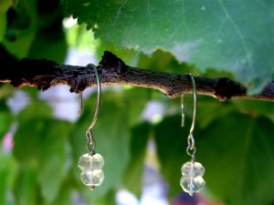 Handmade artisan earrings sterling aquamarine hoop earwires