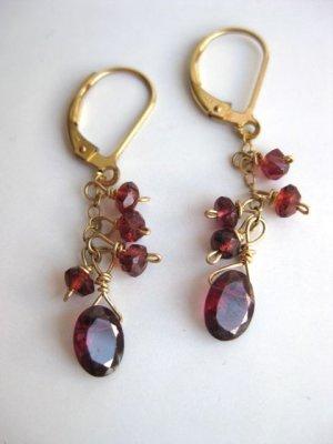 Garnet and gold leverback artisan earrings