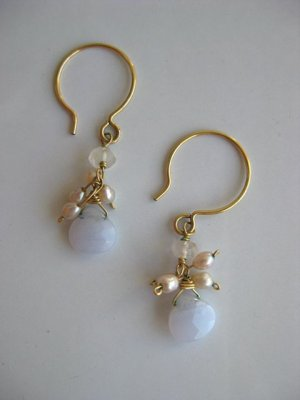 Handmade artisan pink pearl cluster blue lace agate dangle earrings gold hoops