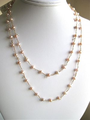 Long pearl necklace gold wire wrapped morganite dangles
