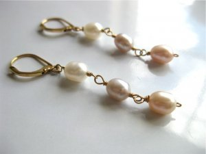 Freshwater pearl bridal earrings with gold leverback earwires