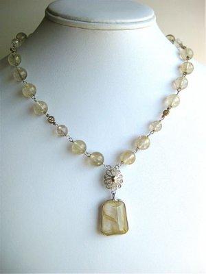 Handmade artisan gemstone necklace rutilated quartz and vintage sterling findings