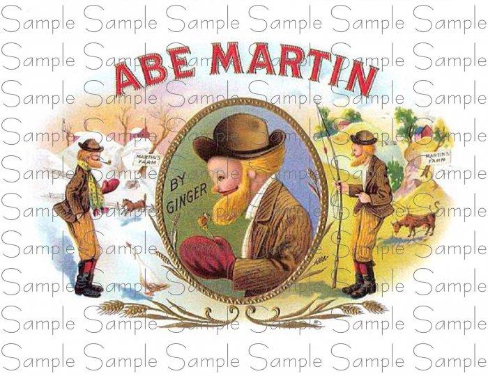 Vintage Abe Martin Cigar Box Art Printable Digital Ephemera Scrapbooking Altered Art