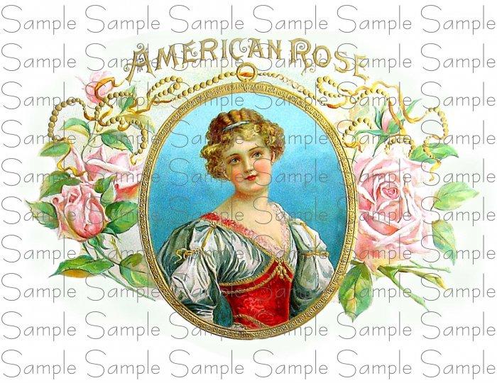Vintage American Rose Digital Cigar Box Art Ephemera Scrapbooking Altered Art