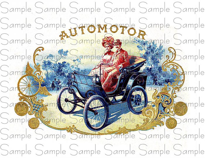 Vintage AutoMotor Digital Cigar Box Art Ephemera Scrapbooking Altered Art