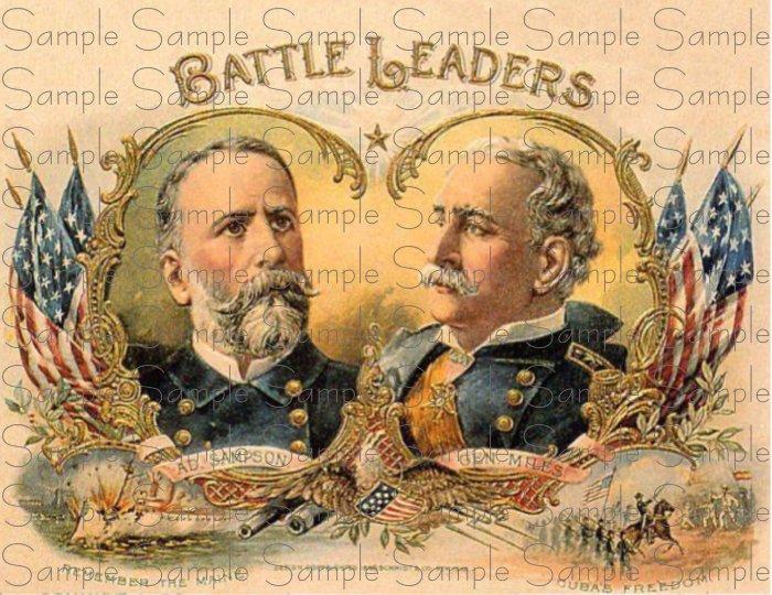 Vintage Battle Leaders Digital Cigar Art Ephemera Scrapbooking Altered Art