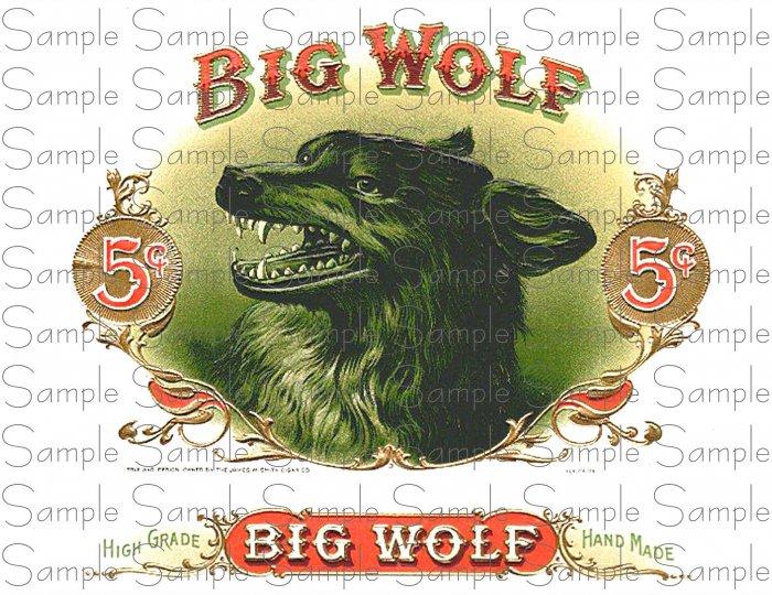 Vintage Big Wolf Digital Cigar Art Ephemera Scrapbooking Altered Art