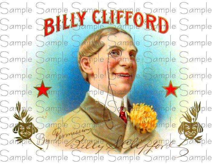 Billy Clifford Digital Vintage Cigar Art Ephemera Scrapbooking Altered Art