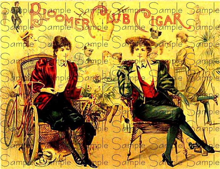 Bloomer Club Digital Vintage Cigar Art Ephemera Scrapbooking Altered Art