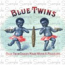 Blue Twins Digital Vintage Cigar Art Ephemera Scrapbooking Altered Art