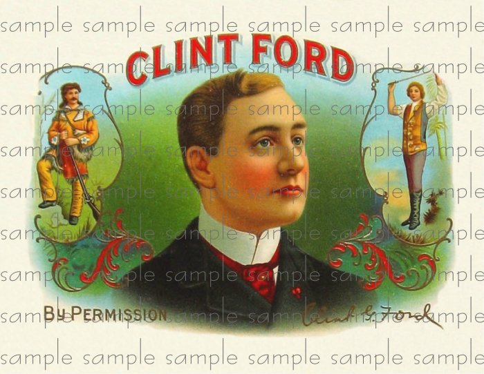 Clint Ford Digital Vintage Cigar Art Ephemera Scrapbooking Altered Art
